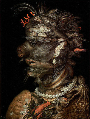Handpainted Oil panting Giuseppe Arcimboldo - The Water with many fish on canvas