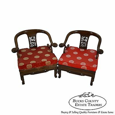 Vintage Pair of Chinese Hardwood Barrel Back Lounge Arm Chairs