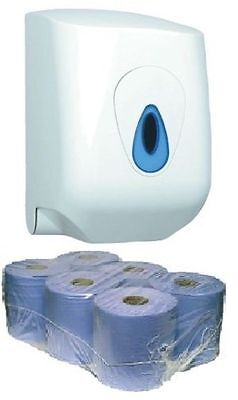 CASE OF 6 x 2 PLY EMBOSSED BLUE CENTRE FEED PAPER ROLLS & DISPENSER