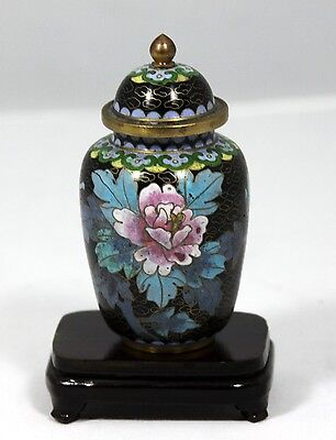 """Miniature Hand Made Cloisonne """"Ginger Jar"""" with Hand Made Wooden Stand  AMAZING"""