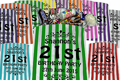 Personalised Sweet Bags, printed Birthday Party Bags Candy Striped Wedding Favor