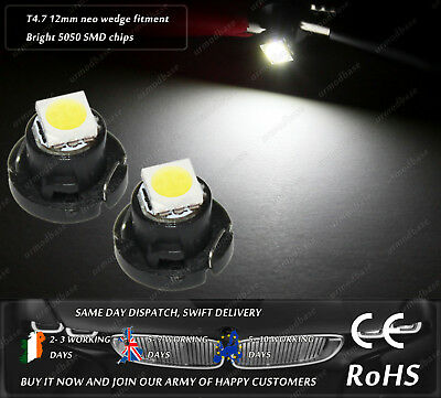2x T4.7 12mm Neo Wedge LED White Dash HID Cluster Speedo Panel Interior Bulbs