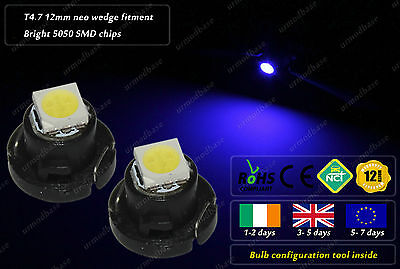 2x LED T4.7 12mm Neo Wedge HID Blue Dashboard Cluster Speedo Instrument Bulbs
