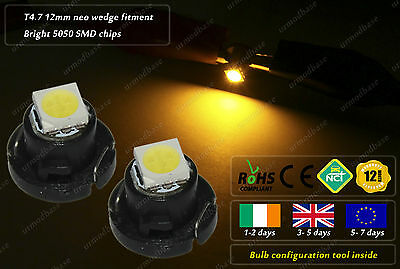 T4.7 Neo Wedge 12mm LED Amber Dashboard Cluster Speedo Interior HID Bulbs Lamps