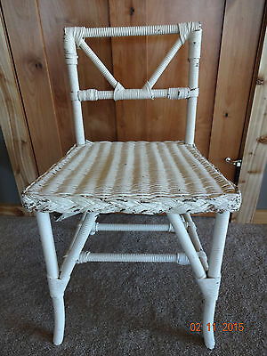 "Vintage Antique White Painted Wicker Adult Size 29"" Tall Chair"