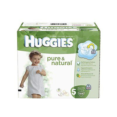 HUGGIES Pure and Natural Diapers, Size 5, 108 Count