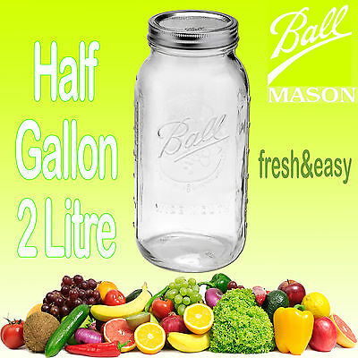 1 x Ball Mason Half Gallon (2 Litre) Wide Mouth Fermenting Jar Lead & BPA Free!
