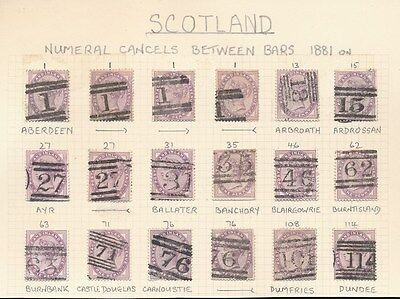 GB QV SCOTLAND POSTMARKS on PENNY LILACS DUPLEX NUMERALS 1 to 114...18 stamps