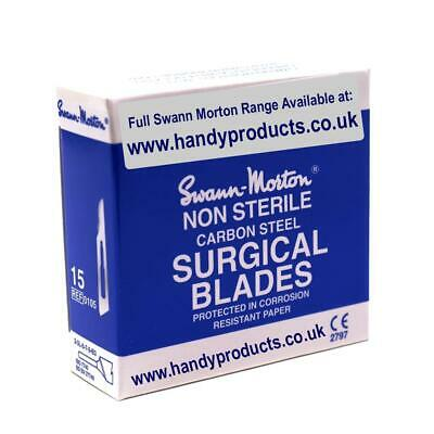 100 x Swann-Morton No.15 Non-Sterile Surgical Blades Quality British Steel Craft