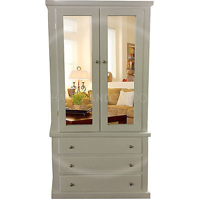 Hand Made Dewsbury Furniture 3 Drawer Double Mirrored Wardrobe White(Assembled)