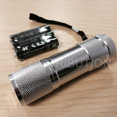Torch 9 LED Metal  in Silver for Police,PCSO,Security, Ambulance, Paramedic