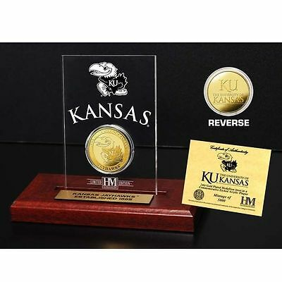 NCAA Gold Coin in Etched Acrylic - University of Kansas