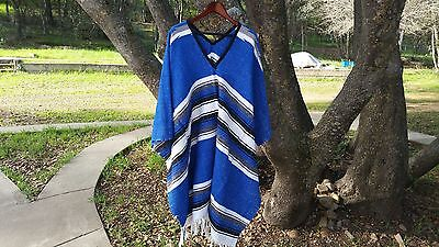 Southwestern Mexican Poncho, Diamond Design, Blue and White, Western