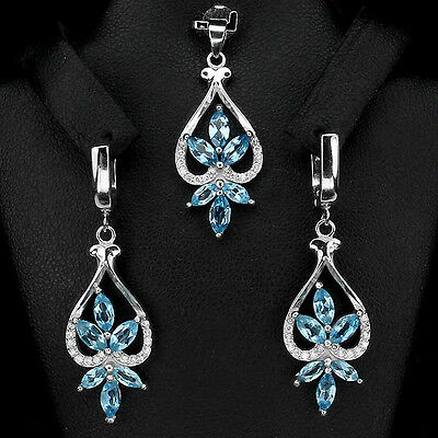 Sterling Silver 925 Genuine Marquise Swiss Blue Topaz  Earring & Pendant Set