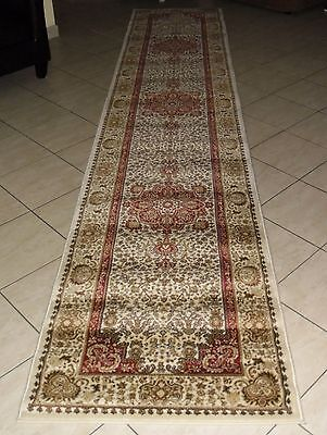 New Extra Long Cream Persian Design Heatset Floor Hallway Runner 80X400Cm