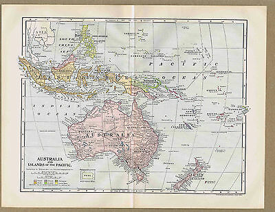 AUSTRALIA & Pacific Islands  - 1901 Antique Map - 114 Year Old
