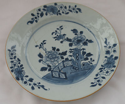 939 DELFT TIN GLAZE PLATE BLUE & WHITE HAND PAINTED CHINESE FLORAL DESIGN
