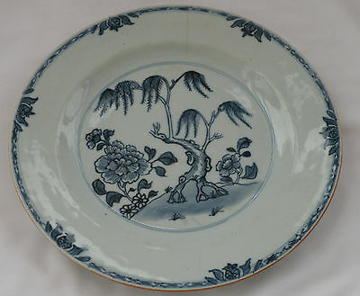 938 DELFT TIN GLAZE PLATE BLUE & WHITE HAND PAINTED CHINESE FLORAL DESIGN