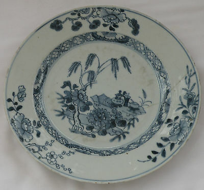 940 DELFT TIN GLAZE PLATE BLUE & WHITE HAND PAINTED CHINESE LANDSCAPE DESIGN