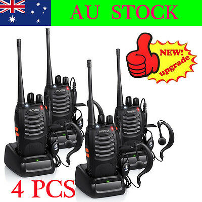 4x Walkie Talkie Portable 2-Way Compact Radio UHF 400-470MHZ 5W BF-888S 16CH AU
