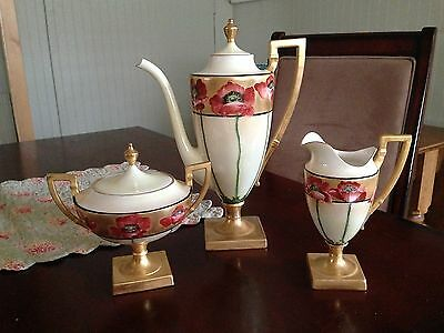 Magnificent Antique Belleek Coffee/Tea Set Hand Painted ~Poppies~
