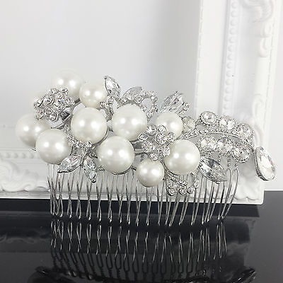 Hair Comb Wedding Bridal Silver Pearl Crystal Rhinestone Head Piece Accessories