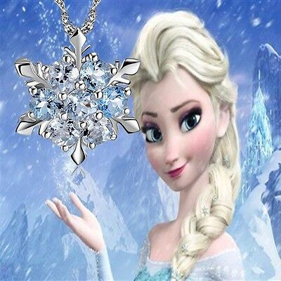 925 SILVER Frozen Princess Anna Elsa Inspired Necklace Girl Kid Costumes Dress