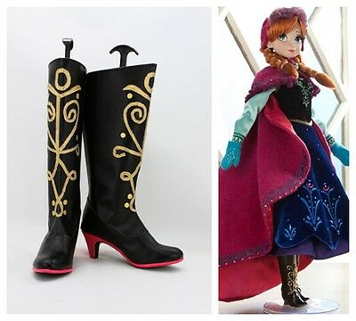 frozen snow anna dress cosplay costume boots boot shoes shoe
