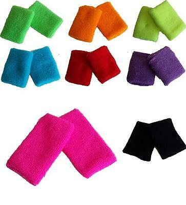 Childrens Boys Girls Neon Wristbands Sweatbands 1980s Fancy Dress Dance