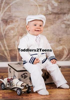 Baby Boy Christening Baptism Pageboy Formal Smart Suit Outfit Hat Cardigan White