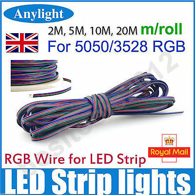 2M/5M/10M/20M For 5050 3528 LED RGB Strip 4 Pin Extension Cable Wire Connector