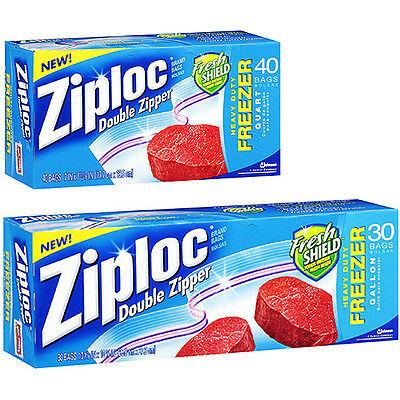 Ziplock Heavy Duty Double Zipper Quart / Gallon Freezer Food Bags Ziploc Genuine