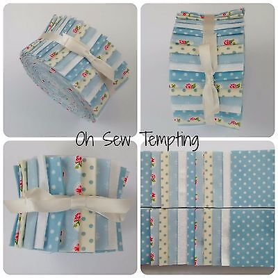 "Jelly Roll Strips 100% Cotton Patchwork Quilting Fabric 2.5""x42""Baby Blue Floral"