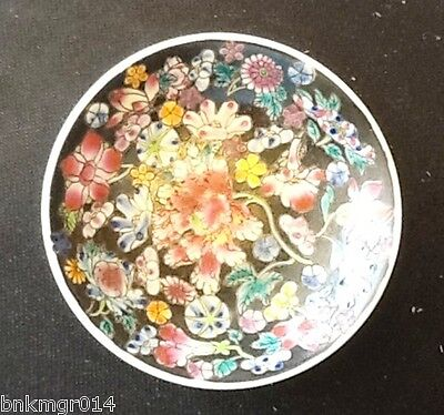 Made in China Black with Flowers Bowl Saucer