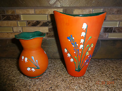 "Vintage Lot of 2 Karholm 5 5/8"" Tall Norway Vases 220 & 134 Clay Orange Flowers"