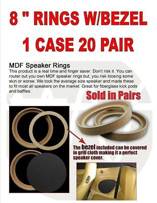 """(20) 8"""" Inch Mdf Wood Speaker Subwoofer Mounting Spacer Rings Recessed W/ Bezel"""