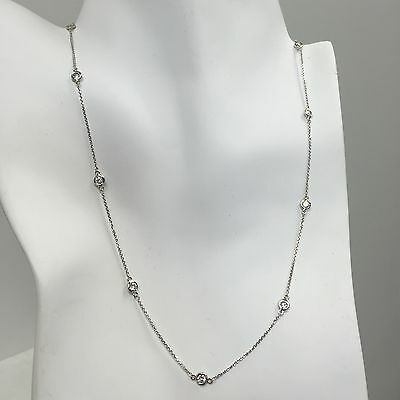 1 TCW Diamond By The Yard Station Necklace Man Made 14k White or Yellow Gold