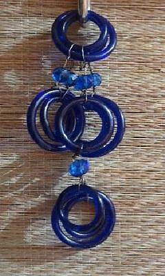 "34 ANTIQUE COBALT BLUE PEKING GLASS RINGS (27) and 7 BEADS  3 sizes 1.25"" to 2"""