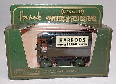 1984 MATCHBOX CAR ENGLAND 1919 WALKER ELECTRIC VAN HARRODS SPECIAL BREAD DELIVER