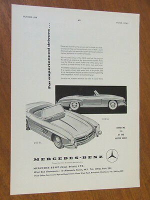 1958 Mercedes-Benz 190SL and 300SL original full page advertisement