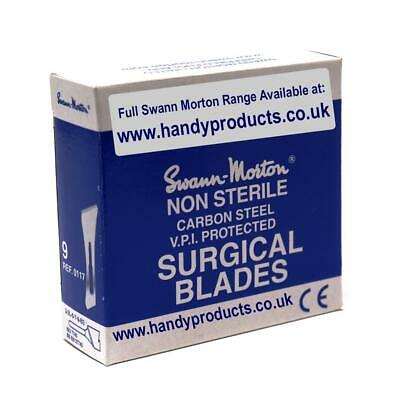 100 x Swann-Morton No.9 Non-Sterile Surgical Blades Quality British Steel Craft