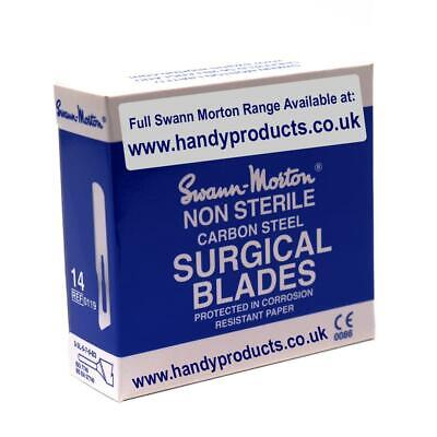 100 x Swann-Morton No.14 Non-Sterile Surgical Blades Quality British Steel Craft