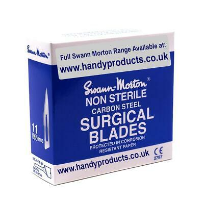 100 x Swann-Morton No.11 Non-Sterile Surgical Blades Quality British Steel Craft