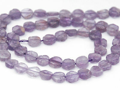 Half Strand Natural Pink Amethyst Flat Coin Beads, 5 - 6 Mm, Gemstone