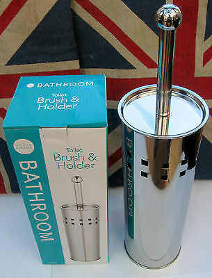 NEW IN BOX TOILET BRUSH AND HOLDER STAINLESS STEEL VERY STYLISH L@@k