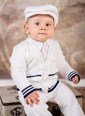 Baby Boy White Navy Outfit Smart Wedding Party Suit Christening Baptism Sailor