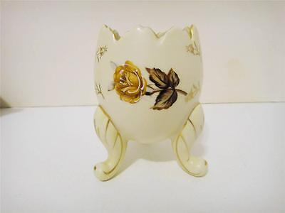 Vintage 1960's Napco Ceramics Japan Broken Egg Vase with Brown Roses
