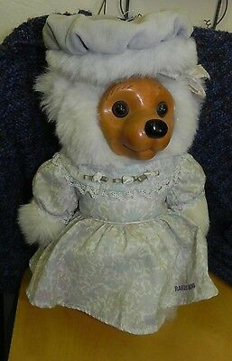 """12"""" RAIKES BEAR, Female, with Dress, Bow and Fur Hat"""