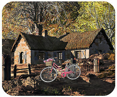 Mouse Pad Custom Thick Mousepad-Rustic Cabin With Bike