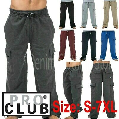 1 New Pro Club Men's Cargo Sweat Pants Track Fleece Heavy Weight Size S-7Xl